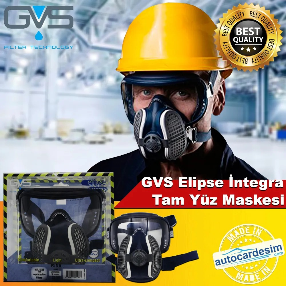 GVS Elipse P3 R D Full Face Gas - Steam Protection Dust Mask