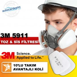3M 5911 P1 Dust and Fog Full and Half Face Mask Fi..